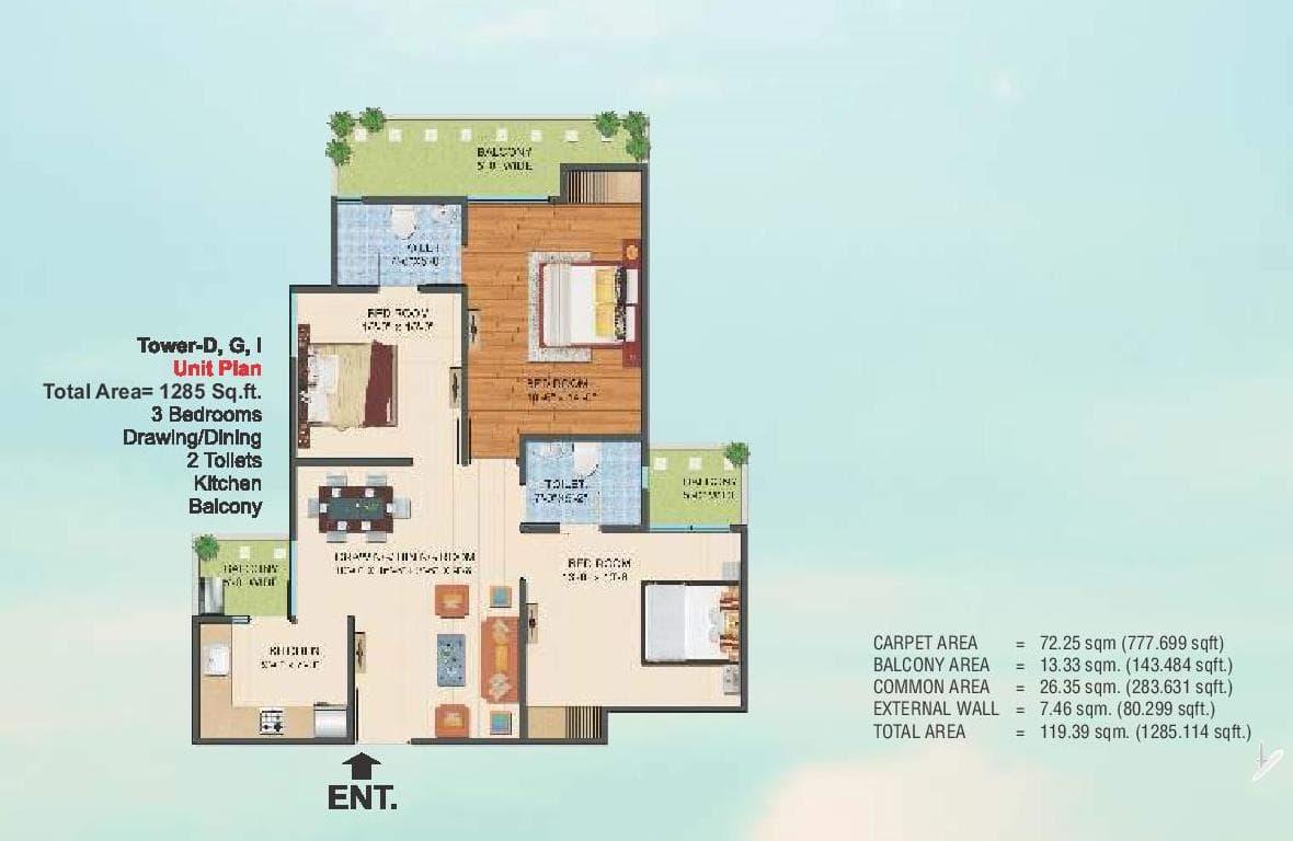 Ajnara Le Garden Floor Plans Noida Extension Greater Noida