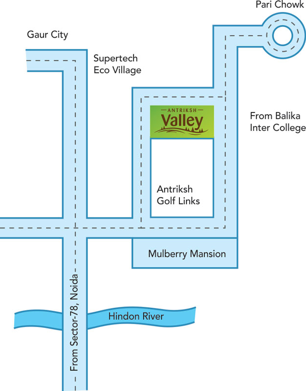 Antriksh Valley Location Map