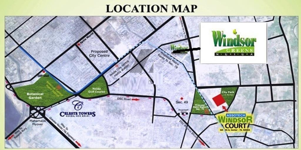 Assotech Windsor Greens Location Map