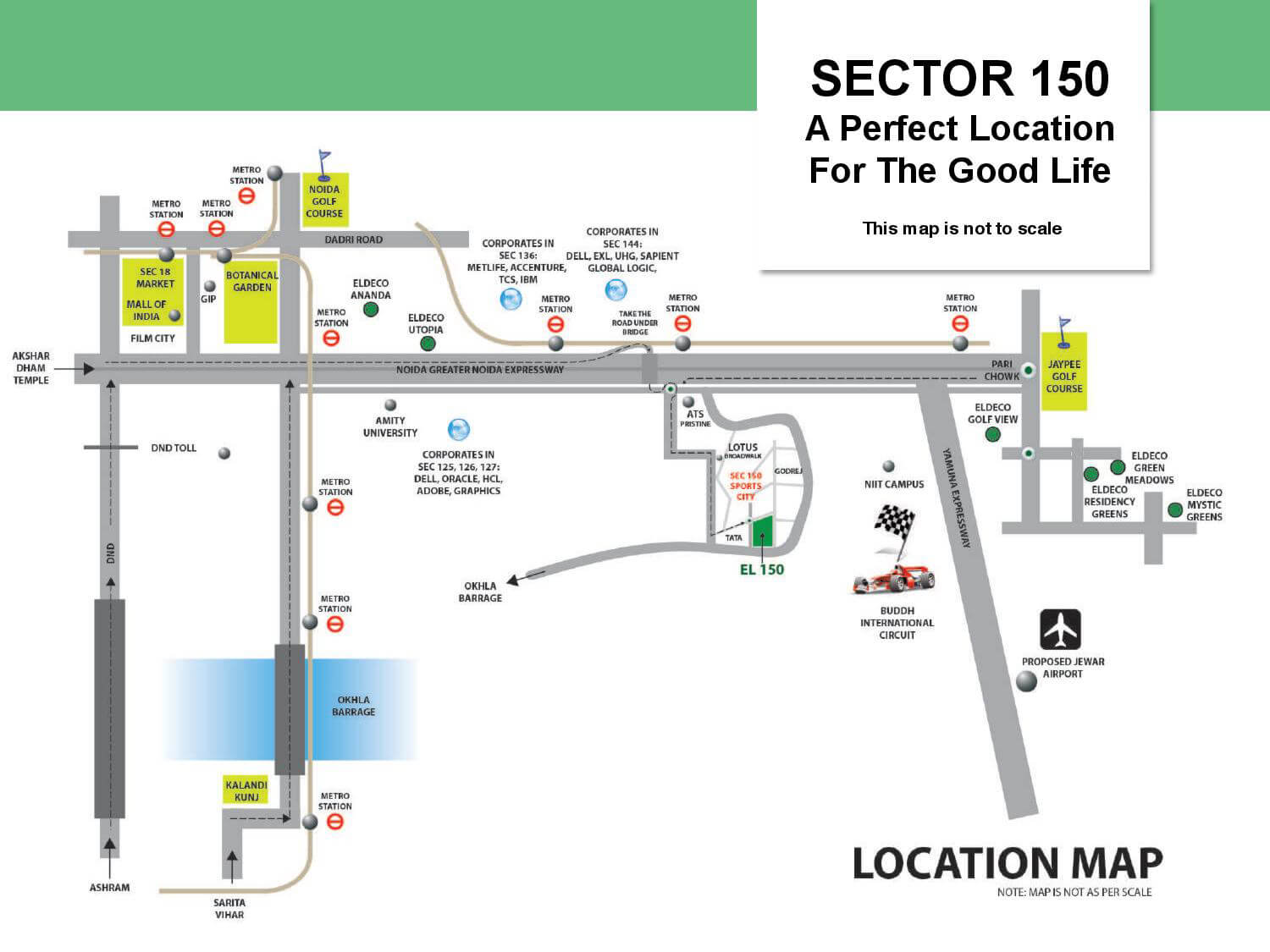 Eldeco Live by The Greens Location Map | Sector 150, Noida