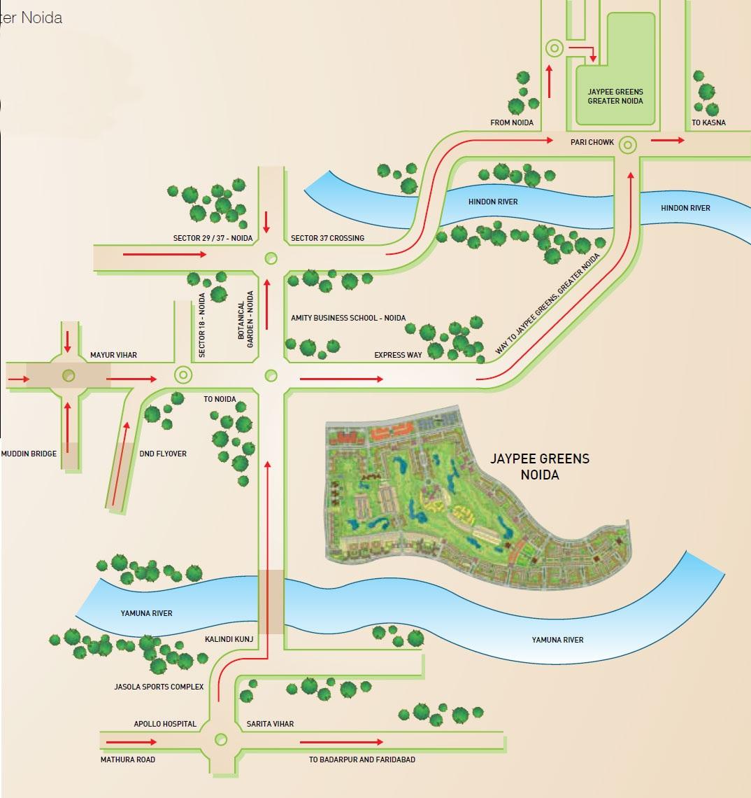 Jaypee The Kalypso Court Location Map