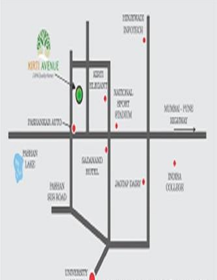 Kirti Avenue Location Map