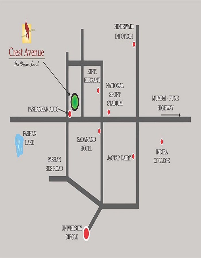 Kirti Crest Avenue Location Map